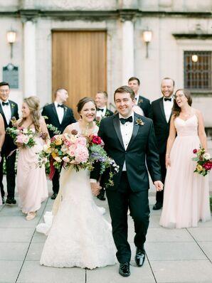 Formal Wedding Party in Black-Tie Attire with Bright Bouquets