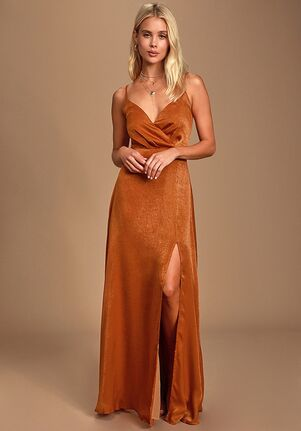 Lulus Constantine Rust Orange Satin Maxi Dress V-Neck Bridesmaid Dress