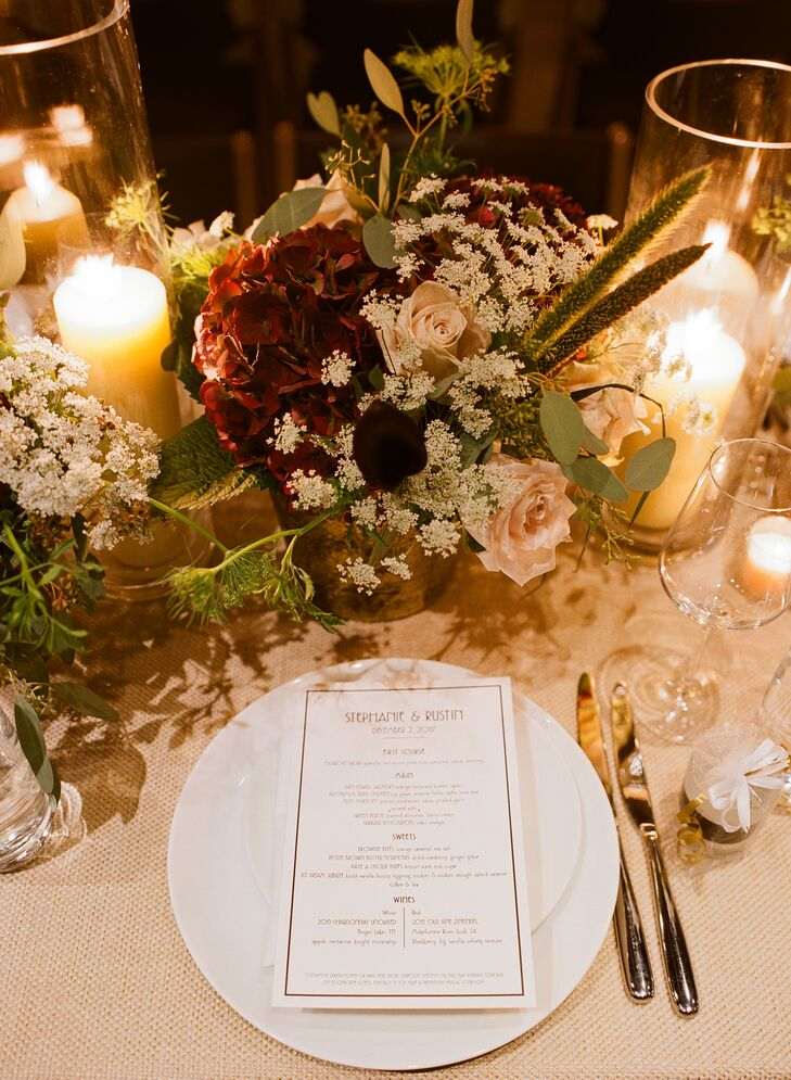 Low Rose and Baby's Breath Centerpiece with Minimal Modern Menu