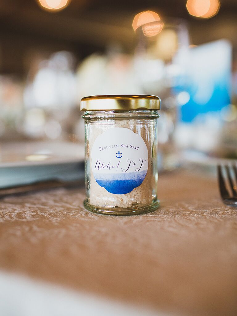 Homemade salt favors at a nautical wedding
