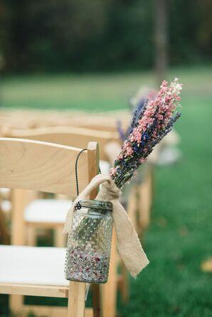 Mason Jar Aisle Decoration with Dried Flowers