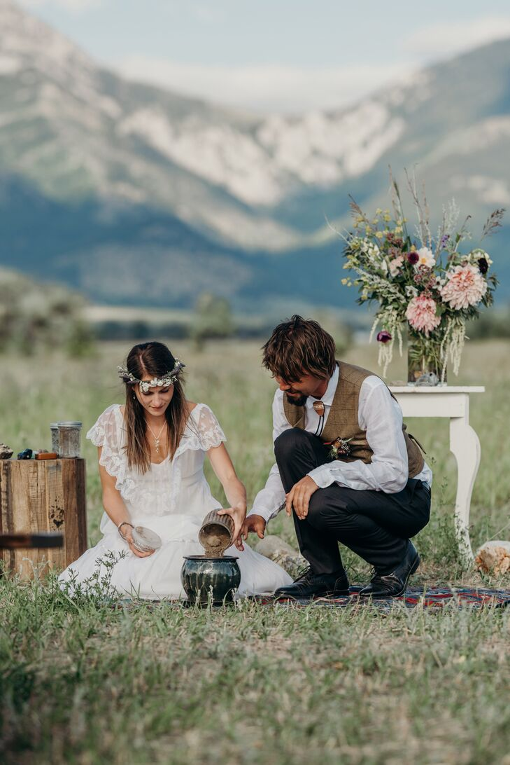 Planting Flower Seeds During Bohemian Ceremony