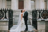 "Sydney Pauline & Michael Pivovarnick wanted their wedding to be ""classic with a black-and-white color palette, but with a modern, elegant approach."" T"