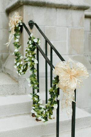 Gold Bow and White Calla Lily Garland Wedding Decor