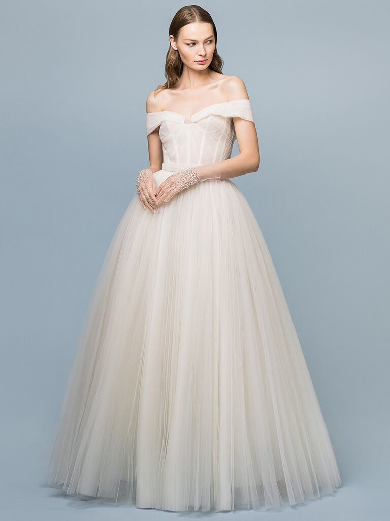 EDEM Demi Couture off-the-shoulder ballgown with bustier bodice