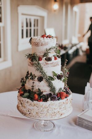 Unusual Wedding Cake With Berries and Blue Corn