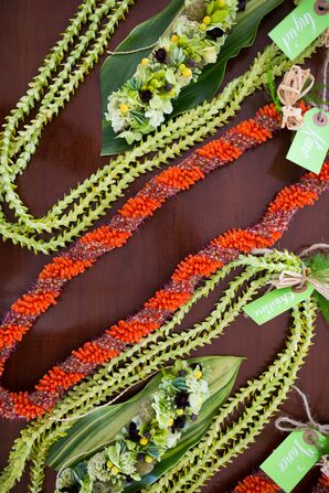 Red and Green Leis
