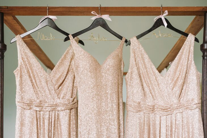 Glamorous Rose Gold Sequined Bridesmaid Dresses with Personalized Hangers