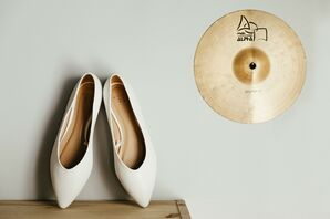 Classic Ivory Wedding Shoes and Gold Cymbal