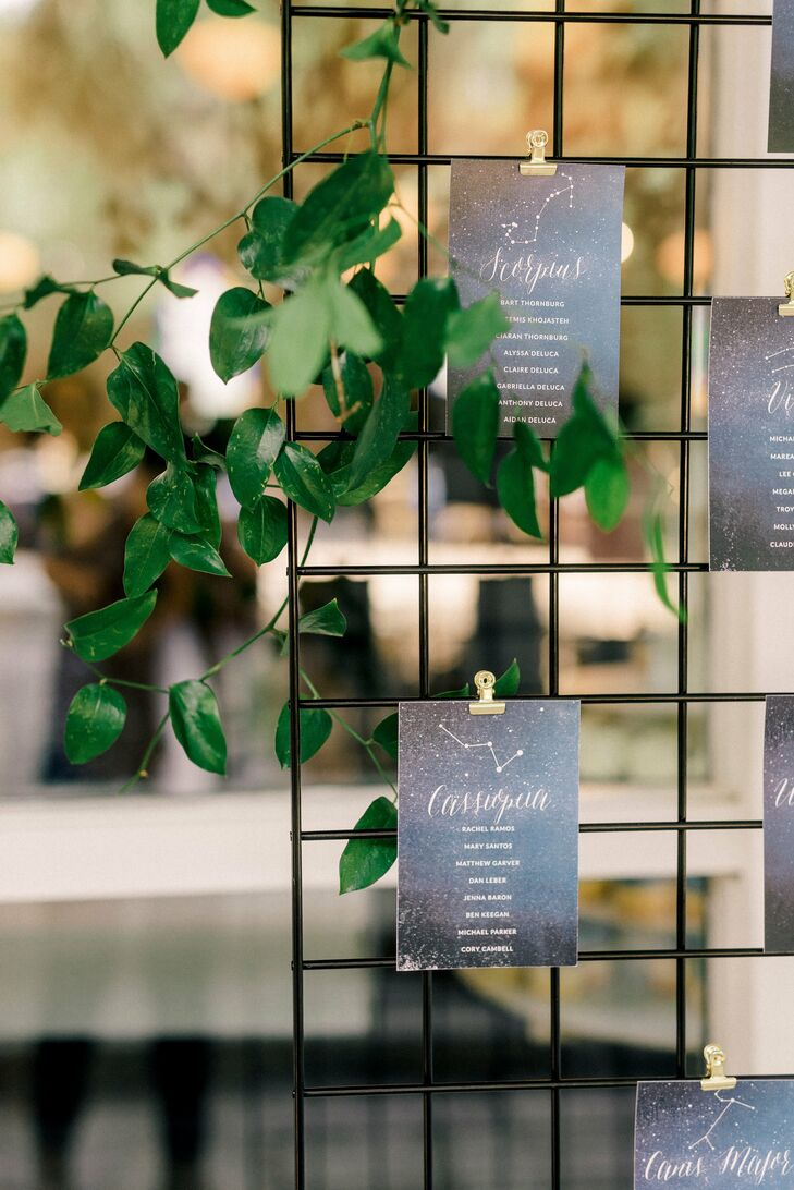Whimsical Celestial Escort Cards with Leaves