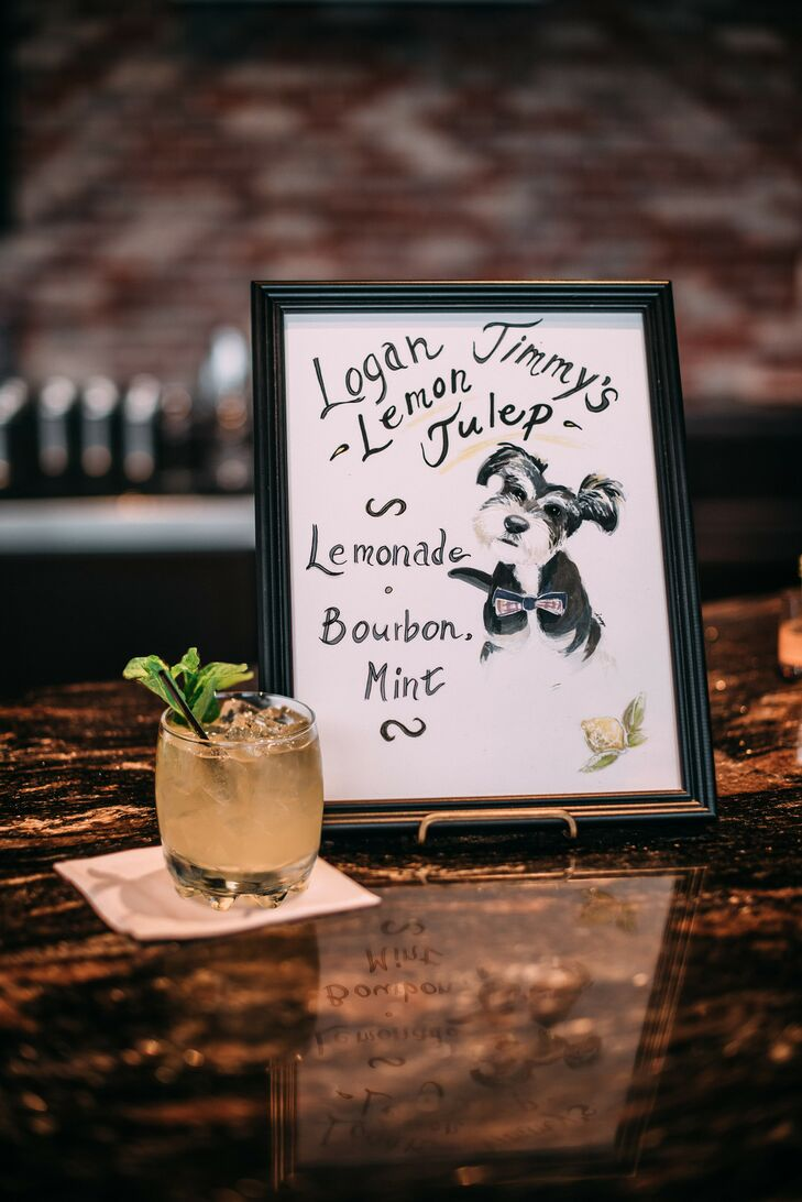 Illustrated Signature Cocktail Menu for Reception at Bissinger's in St. Louis, Missouri