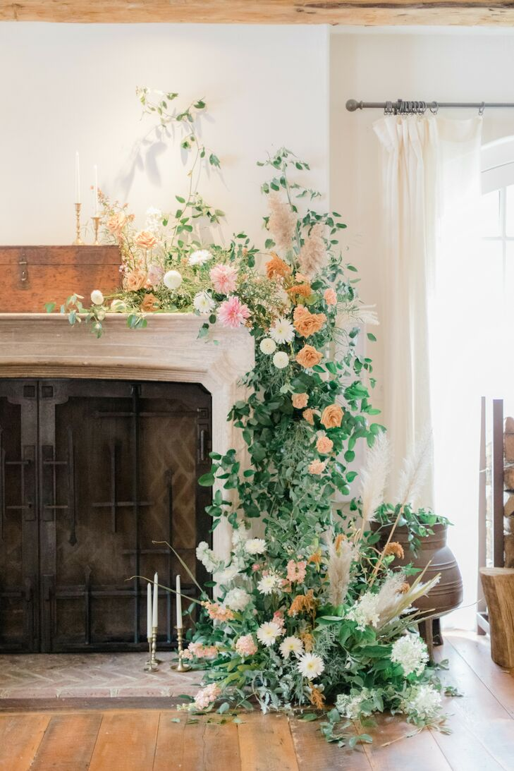 Fireplace Floral Arrangement for Microwedding in Baltimore, Maryland