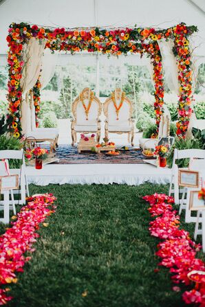 Colorful Hindu Mandap at Tented Ceremony