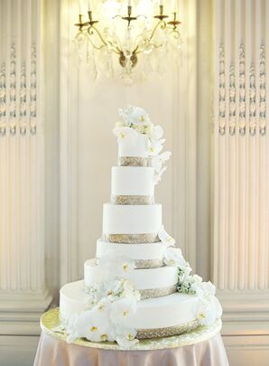 Six-Tier Gold-Trimmed Fondant Cake with Orchids