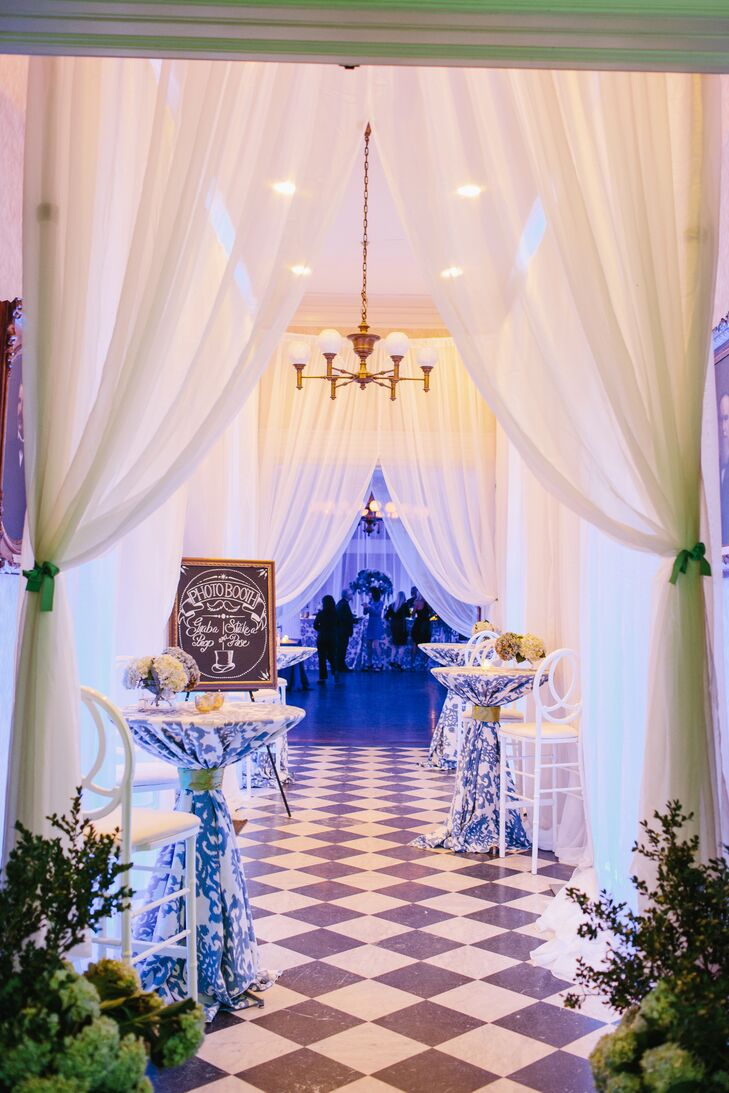 White Fabric Draped Reception with Inkat Linen Accents