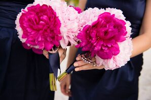 Pink and Fuchsia Peony Bridesmaid Bouquets