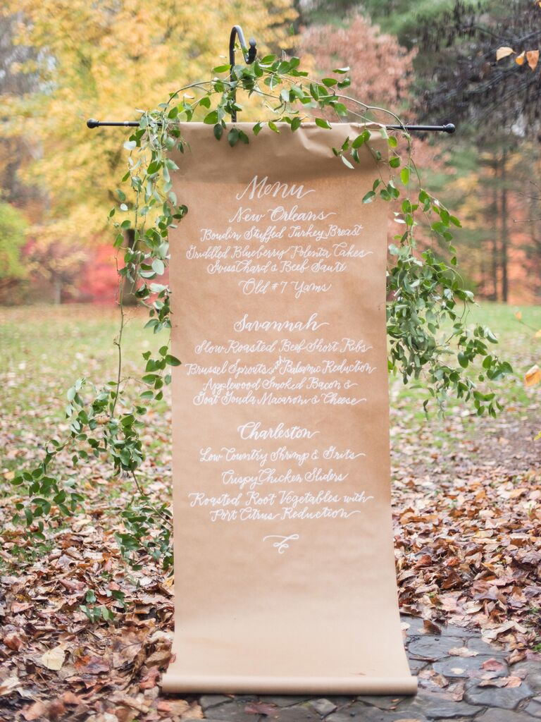 Hand-Lettered Kraft Paper creative wedding menu display idea