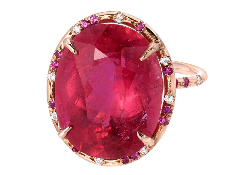 Hot pink sapphire cocktail ring