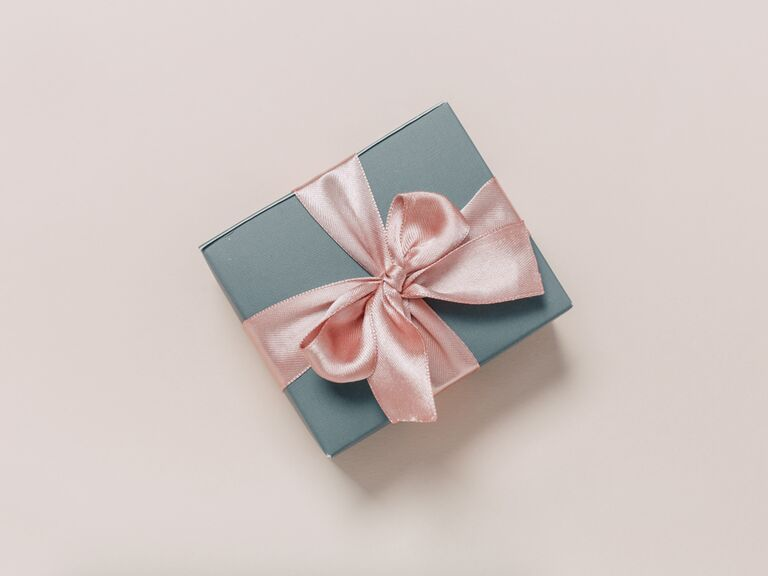 Wedding gift wrapped with pink bow
