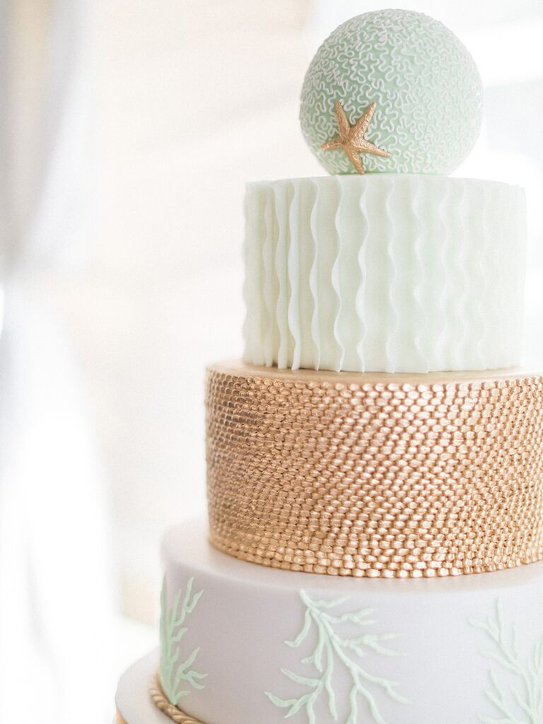 Beach-themed cakeand food ideas for wedding reception