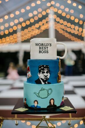 Hand-Painted Wedding Cake Inspired by The Office Television Show