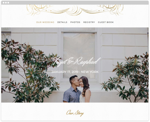 Gilt Agate Wedding Website Template, The Knot