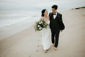 Bride and Groom Walk Down the Beach in North Carolina