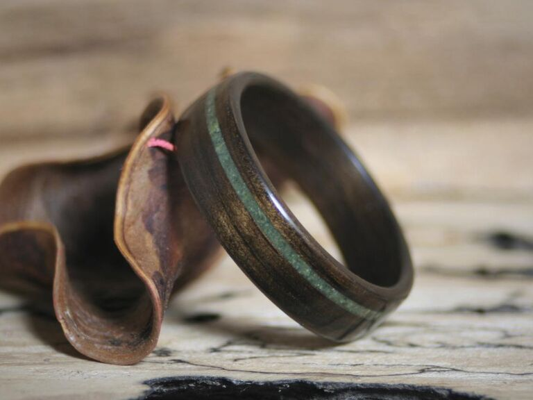 Wooden ring with jade inlay third anniversary gift