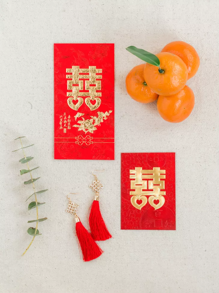 Red envelopes with double happiness symbol for Chinese wedding