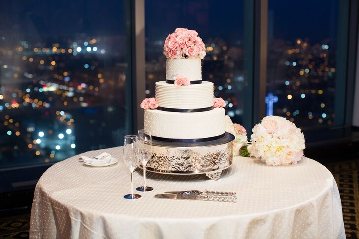 Navy And Blush Wedding.Modern Navy And Blush Wedding Cake