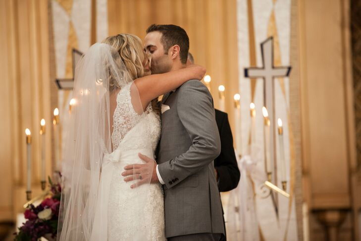 First Kiss At Church Ceremony In St Charles Illinois
