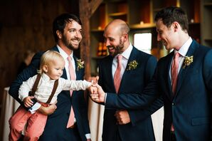 Navy Suits and Red Ties Formalwear