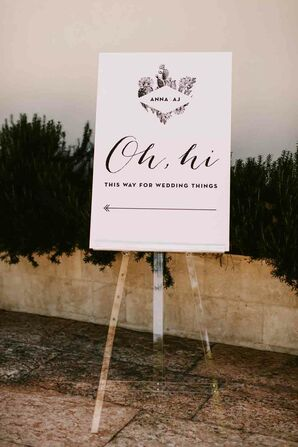 Playful Signs at Palm Springs Wedding
