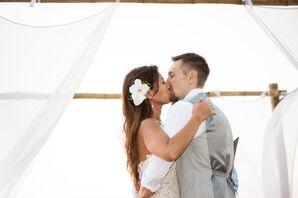 First Kiss at Sublime Samana Beach Wedding