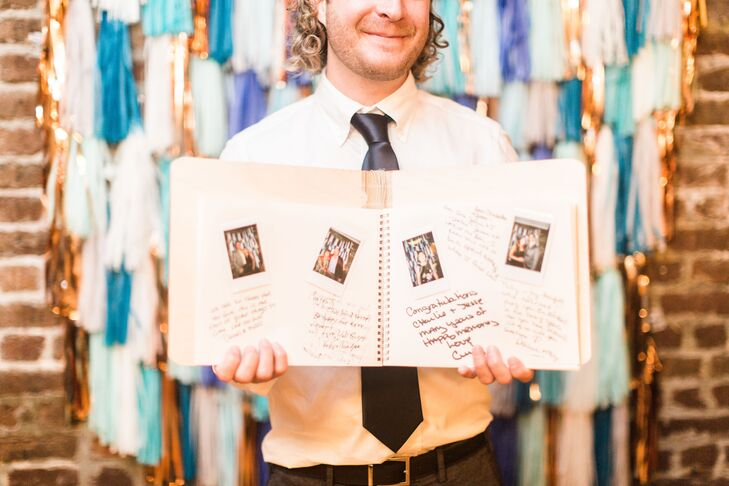 "Charlee-Ann and Jesse had a photo booth at the reception for guests to take photos not only for themselves but also for the guest book, with little notes and loving words. ""Every once in a while, we pull out the book and reminisce about that amazing day,"" she says. ""It's definitely the best memento we have from our wedding day."""