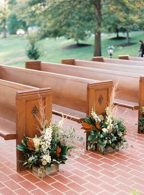 Wooden Ceremony Pews at Rustic Estate Wedding in Ladue, Missouri