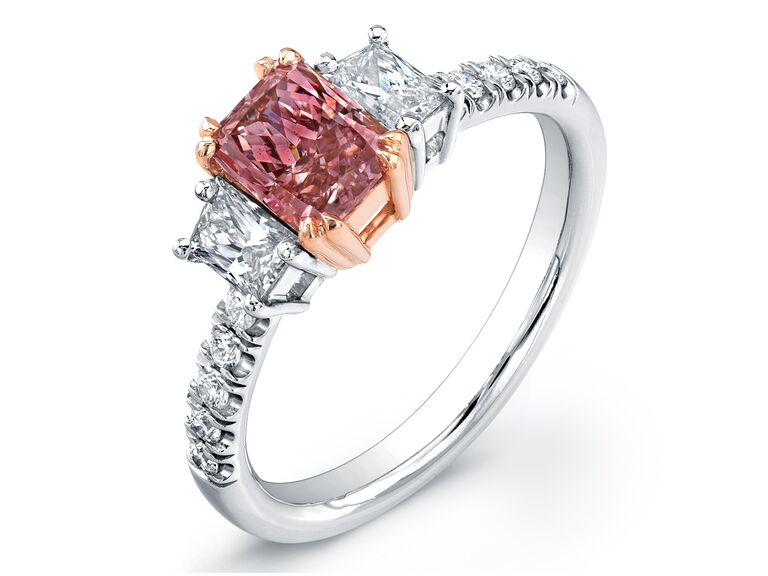 Uneek radiant-cut fancy intense pink engagement ring