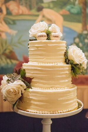 Buttercream Wedding Cake With Pumpkin Topper