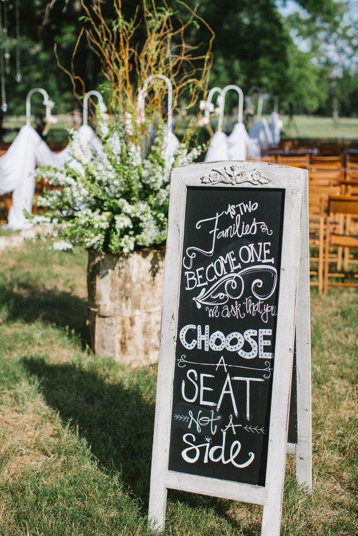 Guests were invited to choose their own seat, as requested by an adorable chalkboard sign.