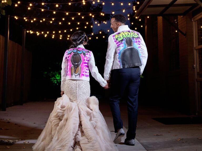 Neon graffiti leather wedding jackets