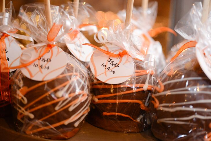 Candied apples doubled as a sweet treat and escort cards for guests.