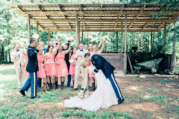 "Samantha Salyers (23) and Chris Amos (22 and in the US Army) proudly put a patriotic twist on their rustic wedding. ""The military is a huge part of ou"