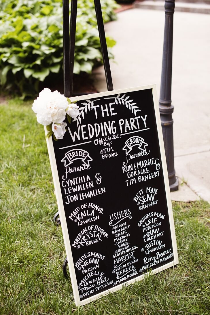 Kylie and Travis wrote the wedding party's names onto a rustic chalkboard at the ceremony entrance.