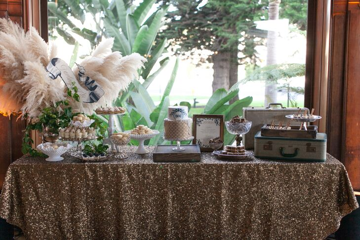 Gold Cakes and Dessert Table