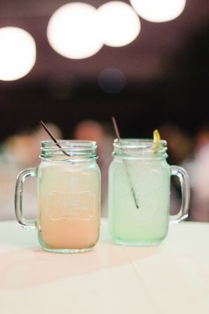 Mint and Peach Signature Cocktails in Custom Jars