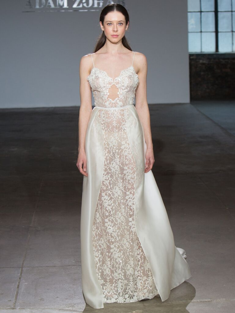 Adam Zohar Spring 2019 Collection sheer A-line wedding dress with see-through top and spaghetti straps