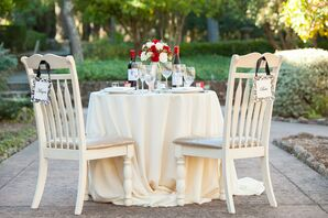Elegant Ivory Sweetheart Table and Chairs