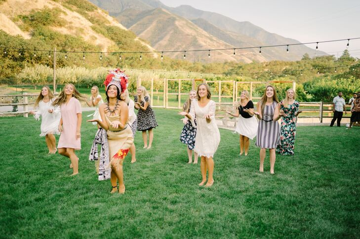 """At the reception, Kourtney surprised Vasa  by performing the Samoan Taualuga dance. """"I wore a traditional dress, and I also had baby oil rubbed all over me and red lipstick on my cheeks,"""" Kourtney says."""