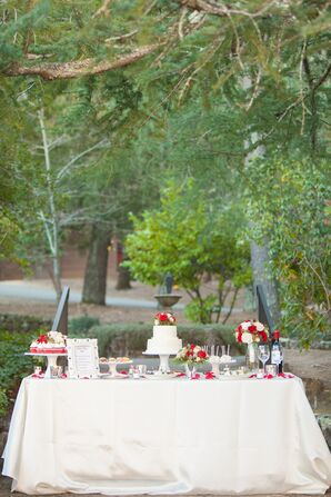 Ivory Dessert Table with Red Accents