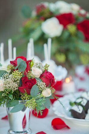 Red and Ivory Rose Centerpiece